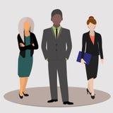 Kontorsarbetare, affärsfolk i affärsdräkter också vektor för coreldrawillustration royaltyfri illustrationer