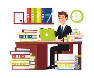 Kontorsarbetare för upptagen man Affärsman royaltyfri illustrationer