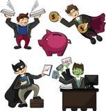 Kontorsarbetare i form av superheroes, med supermakter arbetar Arkivfoton