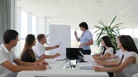 Kontorsarbetare på affärsmöteshower av diagrammet på Whiteboard för kollegor i styrelse arkivfilmer