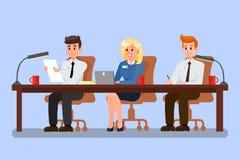 Kontorsarbetare på konferensvektorillustrationen stock illustrationer