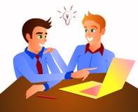 Kontorsarbetare på tabellen diskuterar affärsprocessar vektor illustrationer