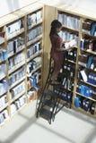 Kontorsarbetare på stege i mapplagringsrum Arkivbild