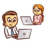 Kontorsarbetare som arbetar på datoren stock illustrationer