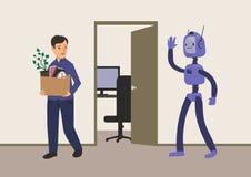Kontorsarbetare som avfyras från hans jobb Utbyte av jobb vid robotar med konstgjord intelligens Man med en kartong royaltyfri illustrationer