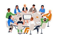 Kontorsarbetare som sitter på den runda tabellen och diskuterar idéer som utbyter information Arbetsmöte, affärsförhandling royaltyfri illustrationer