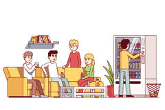Kontorsarbetare som spenderar lunchtid på väntande rum vektor illustrationer