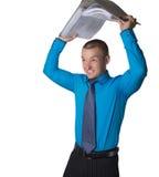 kontorsarbetaren får ilsken Arkivbild