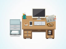 Kontorsbeståndsdelar på skrivbords- illustration Royaltyfria Foton