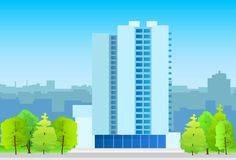 Kontorsbyggnad för stadshorisontaffär som är verklig Arkivfoton