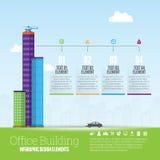 Kontorsbyggnad Infographic Arkivfoto