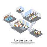 Kontorsbyggnad inre isometrisk 3d royaltyfri illustrationer