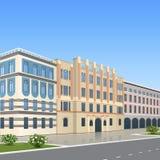 Kontorsbyggnad med ingången och en reflexion