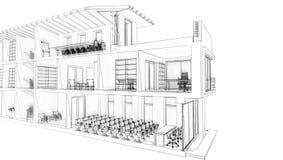Kontorsbyggnad skissar stock illustrationer