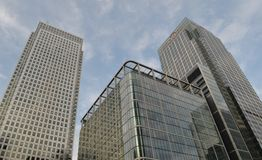 Kontorsbyggnader Canary Wharf London Royaltyfria Bilder