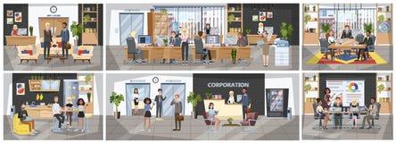 Kontorsbyggnadinre Folk som sitter på skrivbordet vektor illustrationer