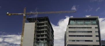 Kontorsbyggnadkonstruktion med kranen Fotografering för Bildbyråer