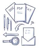 Kontorsdokument och kuvert skissar den fastställda vektorn vektor illustrationer