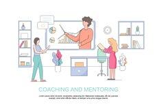 Kontorsfolk som håller ögonen på ekonomiskt seminarium coachning vektor illustrationer