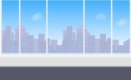 Kontorsinre med det panorama- fönstret stock illustrationer