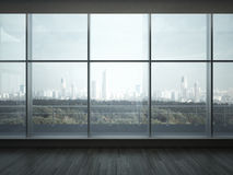 Kontorsinre med stora fönster Royaltyfri Fotografi