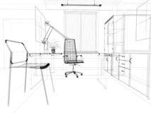 Kontorsinterior vektor illustrationer