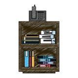 Kontorskabinettet med telefonen och mappar inom klottrar royaltyfri illustrationer