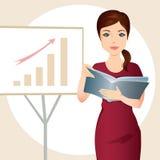 Kontorskvinna som framlägger en graf vektor illustrationer