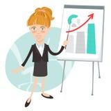 Kontorskvinna som framlägger en graf på flip-diagram Plan stil royaltyfri illustrationer