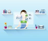 Kontorskvinnaarbetare som använder datoren royaltyfri illustrationer