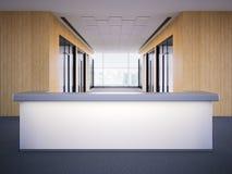 Kontorslobby med ett mottagandeskrivbord framförande 3d royaltyfri illustrationer