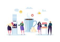 Kontorslunch Tid Tecken för affärsfolk på kaffeavbrott Anställda som talar, vilar och dricker varma drinkar stock illustrationer