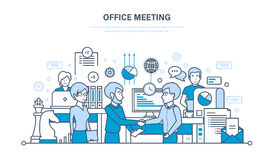 Kontorsmöte, workflowutrymme, teamwork, partnerskap, utbyte av information, kommunikationer stock illustrationer