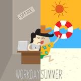 Kontorsmanarbete och halv spring på stranden royaltyfri illustrationer