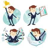 Kontorsmanuppsättning: uppvisning av en graf, lycklig arbetare på hans skrivbord som är upptaget Royaltyfria Bilder