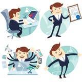 Kontorsmanuppsättning: uppvisning av ett diplom, lycklig arbetare, upptagen vit coll stock illustrationer