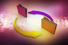 Kontorsmappar med cirkuleringspilen Arkivbild