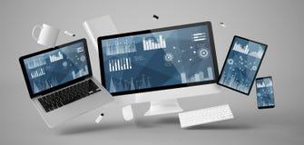 kontorsmaterial och apparater som svävar med statistik och finansiella data royaltyfri illustrationer