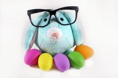 Kontorspåsk Blå påskkaninkanin med svart glasögon och easter färgrika ägg Arkivbilder
