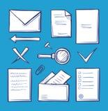 Kontorspappers- och dokumentationssymboler ställde in vektorn stock illustrationer