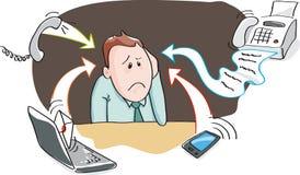 Kontorssammanbrott - informationsöverbelastning vid elektroniska apparater stock illustrationer
