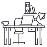 Kontorsskrivbord, hem- skrivbordvektorlinje symbol, tecken, illustration på bakgrund, redigerbara slaglängder stock illustrationer