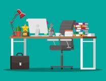 Kontorsskrivbord med datoren royaltyfri illustrationer