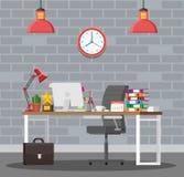 Kontorsskrivbord med datoren stock illustrationer
