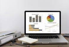 Kontorsskrivbord med grafer och diagram på en bärbar dator Royaltyfri Fotografi