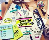 Kontorsskrivbord med hjälpmedel och anmärkningar om den Digital marknadsföringen Arkivbild