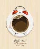 Kontorsskrivbord med kaffe och klockan stock illustrationer