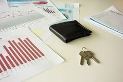 Kontorsskrivbord med plånboken och tangenter arkivbild