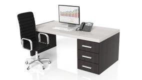 Kontorsskrivbord med utrustning royaltyfri illustrationer