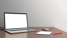 Kontorsskrivbord på en vit bakgrund Fotografering för Bildbyråer